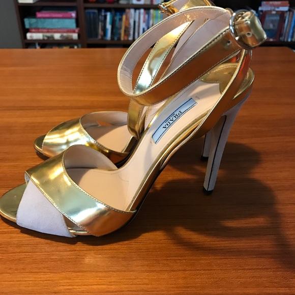 4f44fb04c Prada Gold Metallic Leather Suede Sandals